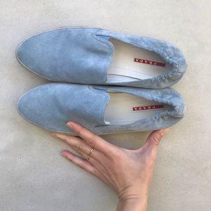 Prada Espadrille leather blue slip on sneaker 40